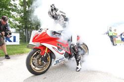 Huntley Nash celebrates with a big smoky burnout!