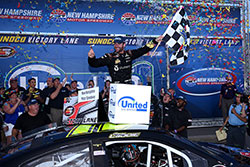 Corey LaJoie, who also races in the NASCAR XFINITY Series, won the NASCAR K&N Pro Series East race at New Hampshire International Speedway.
