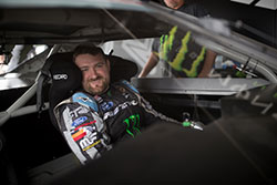 Vaughn Gittin Jr. smiles in his car  in Formula D at Evergreen Speedway, in Monroe, Washington