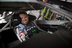 Vaughn Gittin Jr. smiles in his car  in Formula D at Evergreen Speedway, in Monroe, Washington