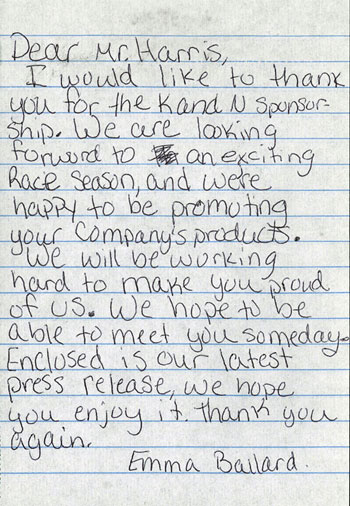 Fast Chicks Racer Emma Ballard thanked Bob Harris of K&N for sponsorship with this hand written letter.