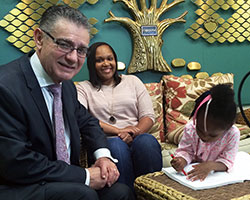 Bobby Likis is seen here with Mahogany Roland and her daughter Jaylynn who will transition into a mainstream kindergarten classroom