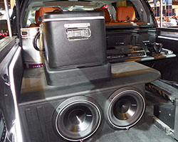 """Inside the Tundra bed at SEMA 2014 are two 24"""" Samsung LED HD TV's"""