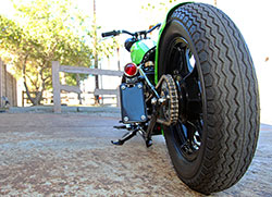 A custom rear hard tail section is married to the stock front half of the Kawasaki KZ440 frame