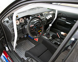 Mark's highly modified 2003 Mitsubishi Lancer Evolution is just as trick inside the driver compartment as it is outside © 2014 Eric A. Eikenberry-Photographer