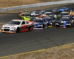Dalton Sargeant took the lead from pole winner David Mayhew on the second lap of the Carneros 200 at Sonoma Raceway in California with a smooth pass in the number 52 Galt Chevrolet