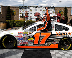 David Mayhew's win in the Carneros 200 at Sonoma Raceway was his ninth victory in 92 career races in the NASCAR K&N Pro Series West and his first win of the 2015 race season