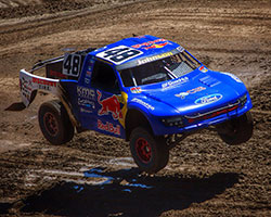 Ricky Johnson, two-time Pro-4 truck champion, had victory in his sights during Lucas Oil Off-Road Racing round 11 in Sparks, Nevada but a driving error forced him to make up lost ground