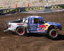 Bryce Menzies drives the Red Bull sponsored Pro-2 race truck and if not for a restart probably would have won Lucas Oil Off Road Racing round 11 at Wild West Motorsports Park