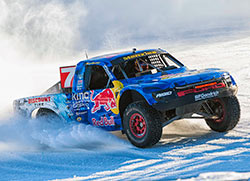 With one-off spiked tires Bryce Menzies raced his Pro 4 truck at the 2016 Red Bull Frozen Rush