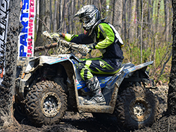 Starting the 3rd lap of GNCC round 7, K&N filters supported racer Mike Swift hit a tree stump hidden in a rock section