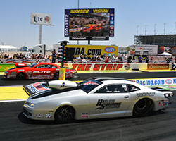 Chris McGaha's car made a hard right turn on the launch forcing him to let off the gas while Erica Enders-Stevens had a nice run