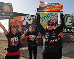 Erica Enders-Stevens won the $50,000 K&N Horsepower Challenge for the second consecutive year during the SummitRacing.com NHRA Nationals