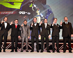 Anthony Kumpen, Andy Seuss, Abraham Calderon, LP Dumoulin, Doug Coby, Ben Rhodes and Greg Pursley at NASCAR Touring Series Night of Champions