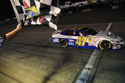 Cale Conley takes checkered flag at the Jegs 150 at Columbus Motor Speedway.