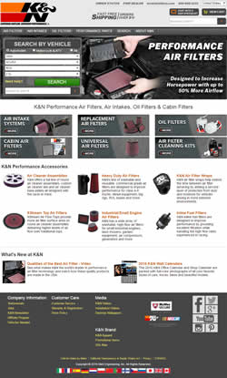 K&N Filters website improved user friendliness
