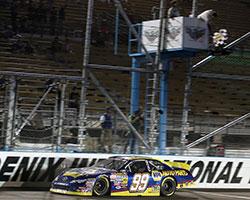 Nick Drake leading the NASCAR K&N Pro Series West Casino Arizona 100 race