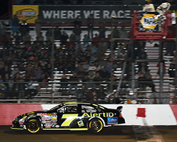 After a fierce door-to-door battle it would be Noah Gragson who crossed the line first under a green-white checkered flag