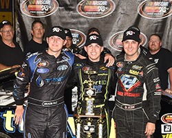 >The top three drivers of the Napa Auto Parts Wildcat 150 at Tucson Speedway in Tucson, Arizona