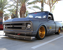 During a two-year hiatus from racing Brandy Phillips and her husband Rob built Brandy's 1972 Chevrolet C10 R race truck using ideas Rob gained while driving his 1969 Chevy C10