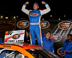 NASCAR K&N Pro Series West rookie Ryan Partridge turned a dominant performance at Colorado National Speedway into his first career NASCAR K&N Pro Series West victory
