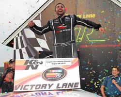 Sergio Pena wins the NASCAR K&N Pro Series East Biscuitville 125
