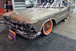 The car began as a 1959 Chrysler Imperial but was transformed to this Imperial Speedster at SEMA.