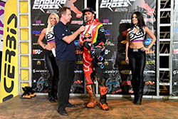 Taddy Blazusiak on podium at Endurocross season opener