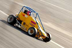17-year-old Laura Poorter in practice at Irwindale Speedway