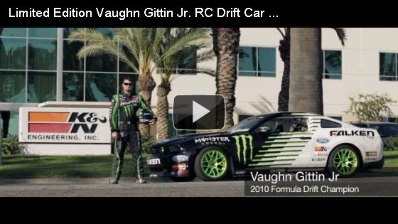 Vaughn Gittin Jr. chasing RC car through K&N's factory