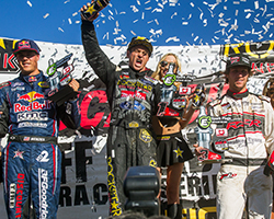 On the final lap of LOORRS Pro-2 round 6 RJ was caught by a hard-charging Bryce Menzies in a drag race to the line