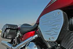 Custom chromed billet RK-3926 Air Filter Assembly on Honda VTX1800
