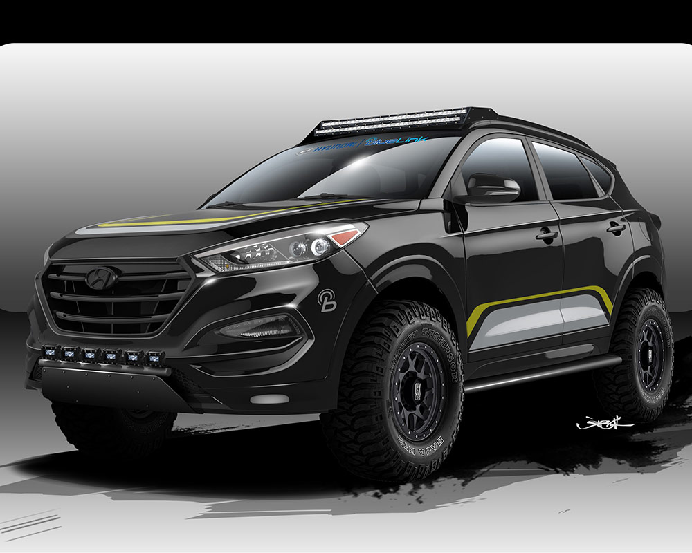 from rendering to reality rockstar garage transforms tucson for hyundai sema booth. Black Bedroom Furniture Sets. Home Design Ideas