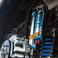 Rockstar Garage reconstructed the 2016 Hyundai Tucson's wheel wells to create space for a fully-custom, adjustable shocks and struts system from King Shocks