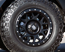 The Rockstar Garage 2016 Hyundai Tucson sits six inches over stock height, riding on comparatively huge; 32-inch MTZ P3 tires from Mickey Thompson and KMC 17-in. XD Series wheels