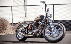 The custom RSD Slant Carbon Fiber Intake with K&N Filter adds some much needed knee room to the Softail