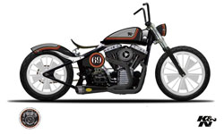 In an early design rendering the K&N Softail still sported a vintage seat