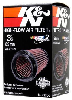 K&N universal air filter RU-3130-L features multi-lingual packaging