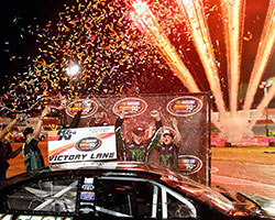 Gracin Raz's hard charge on the final lap of the Toyota/NAPA Auto Parts 150 presented by Axle Crutch carried the Jefferson-Pitts driver on to capture his first NASCAR K&N Pro Series West win