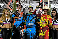 Max Gerston, Cody Webb, and Colton Haaker on the podium in Denver, Colorado