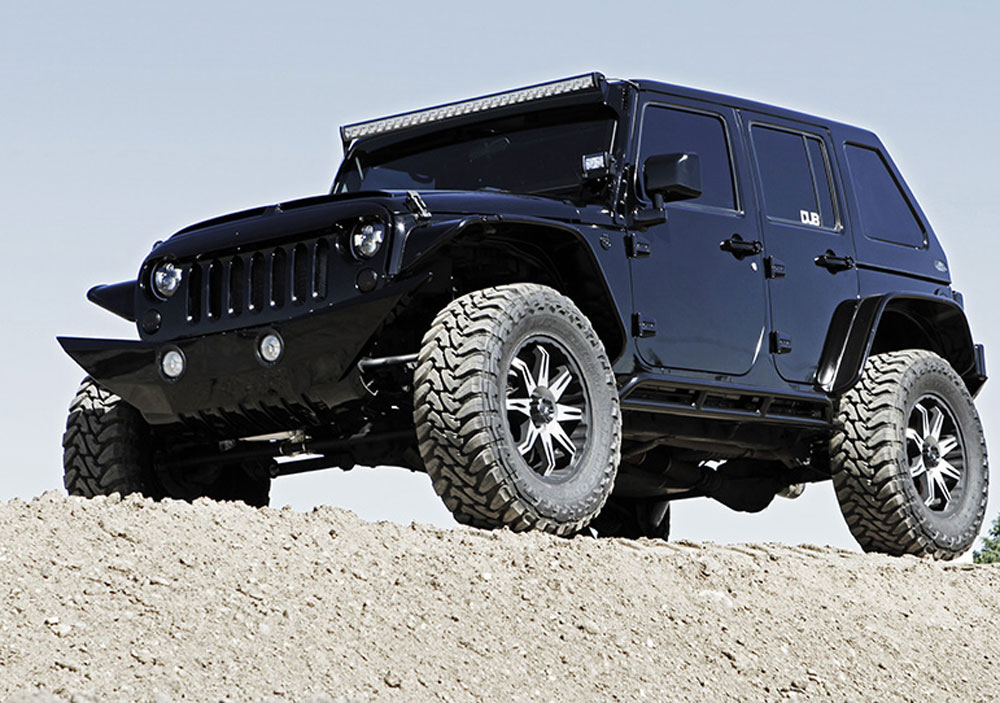 hum vee style four door jeep wrangler sahara 4x4 featured at sema show. Black Bedroom Furniture Sets. Home Design Ideas