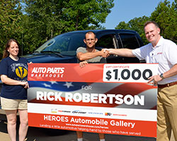 Auto Parts Warehouse surprised Sergeant Rick Robertson at his Hohenwald, Tennessee home over the weekend with a gift certificate for $1,000 and parts from automotive partners like K&N