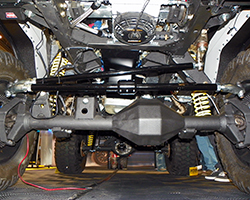 Gone is the stock Ford Bronco suspension and in its place Rockstar Performance Garage installed Rockkrawler Coilovers with 3-link front & dual triangulated 4-link rear suspension