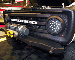 Numerous accessories, such as Bulldog LED lighting and a Warn 9.5xp-s winch help further the Rockstar Performance Garage 1973 Ford Bronco's trail readiness