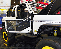 Much of the Rockstar Performance Garage 1973 Ford Bronco's body parts are custom built or aftermarket pieces finished in Bullet Liner protective coatings