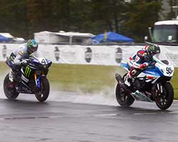 Team Yoshimura Suzuki Factory Racing rider Roger Lee Hayden was credited with winning the rain soaked AMA Pro Superbike Saturday race at New Jersey Motorsports Park (Brian J Nelson Photography)