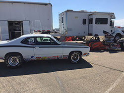 Chuck Rose drives the Rose Racing 1972 Plymouth Duster in the Stock Eliminator races