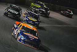 Ryan Partridge takes the lead in the NASCAR K&N Pro Series West race at Tucson Speedway