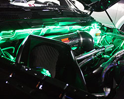 Jared from Sin City Mopars car club, proudly had his K&N short ram intake equipped Dodge Ram on display