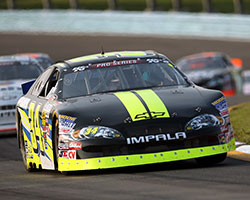 Scott Heckert was able to gain the lead just before the white flag came out during the NASCAR K&N Pro Series East race at Watkins Glen International in New York